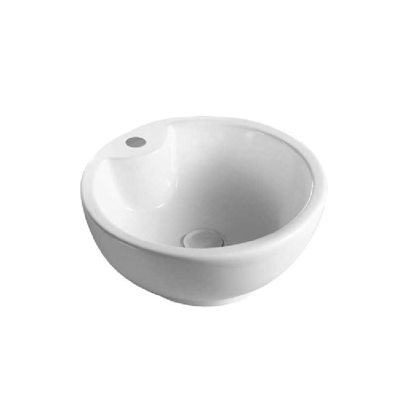 Lavabo Da Appoggio Tongo Ceramica Bianca Con Foro Rubinetto Diametro 40 Cm