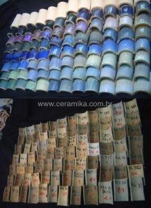 variação de azuis em esmalte ceramico