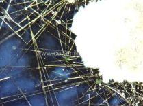 formação de cristais no vidro derretido