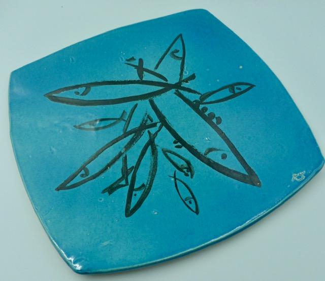 Plat poisson bleu Bol à thé - objets céramiques