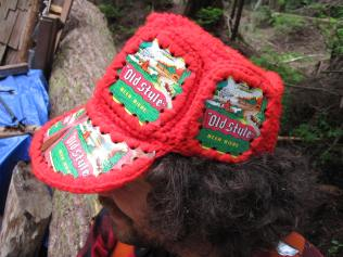 someone's auntie made this. possibly the most awesome hat ever. 'Old Style' beer can crochet cap.