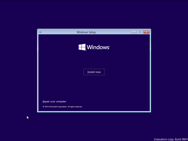 Installation Screen for Windows 10