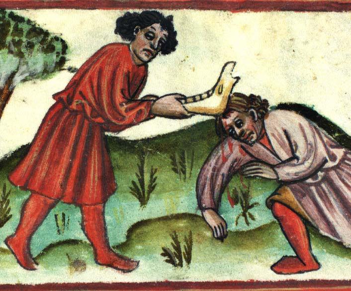 Caino uccide Abele in un manoscritto del XV secolo