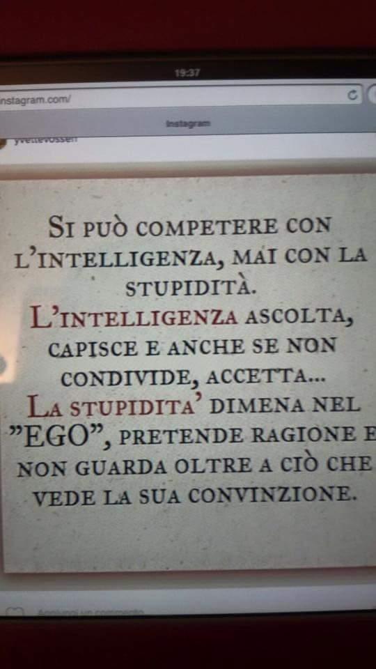 Si può competere con l'intelligenza, mai con la stupidità