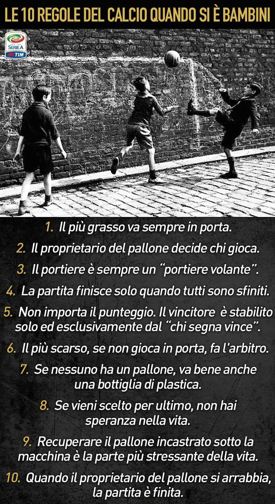 Le 10 regole del calcio quando si è bambini