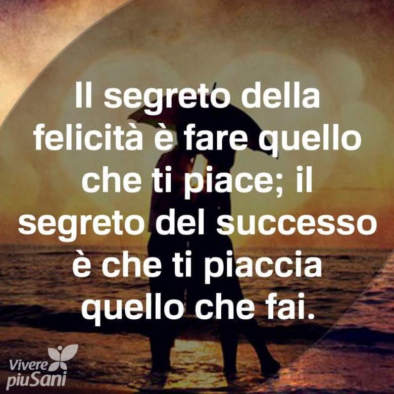 Il segreto della felicità e fare quello che ti piace, il segreto del successo e che ti piaccia quello che fai.