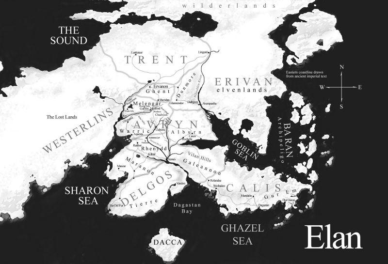 La mappa di Elan, il mondo di The Riyria Chronicles