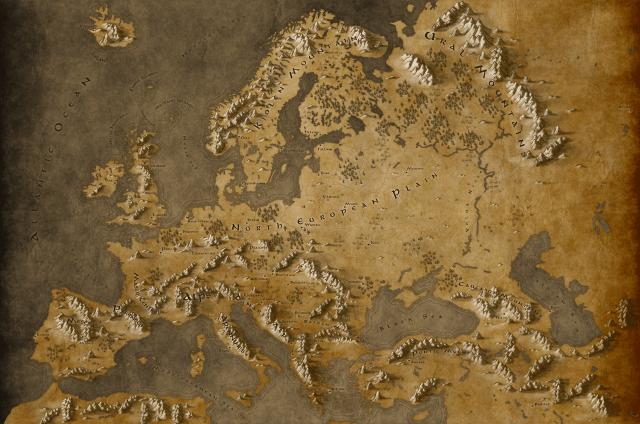 In caso qualcuno volesse proprio stare in Europa, eccone la mappa fantasy, disegnata da Callum Odgen
