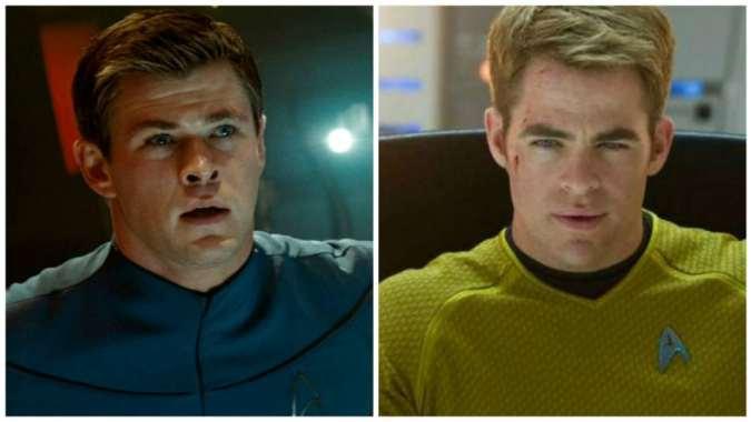 Chris Hemsworth nei panni di George Kirk e Chris Pine in quelli di Jim Kirk
