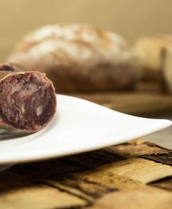 Detalle de corte de salchichón ibérico de bellota de Cerdoh!