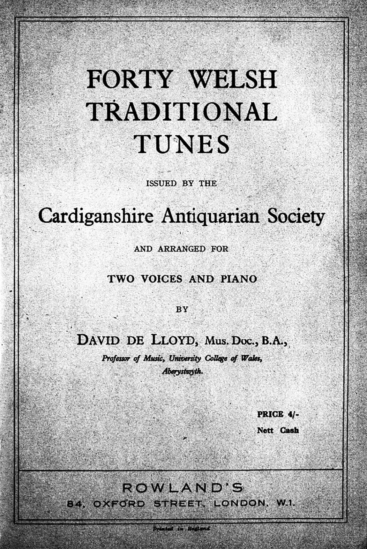 Forty Welsh Traditional Tunes Cardiganshire Antiquarian Society 6