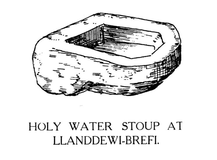 Holy Water Stoup at Llanddewi-Brefi