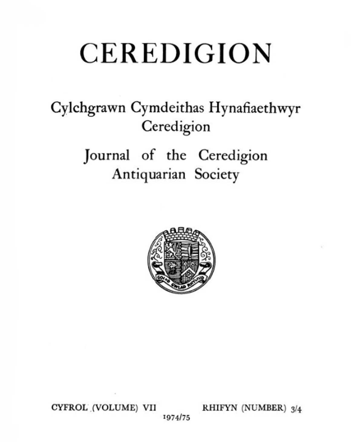 Ceredigion – Journal of the Cardiganshire Antiquarian Society, 1974-5 Vol VII No 3/4
