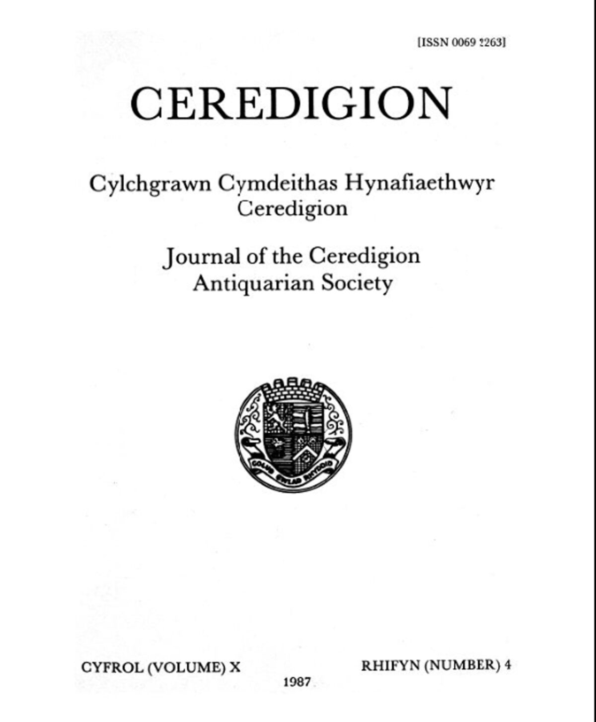 Ceredigion – Journal of the Cardiganshire Antiquarian Society, 1987 Vol X No 4
