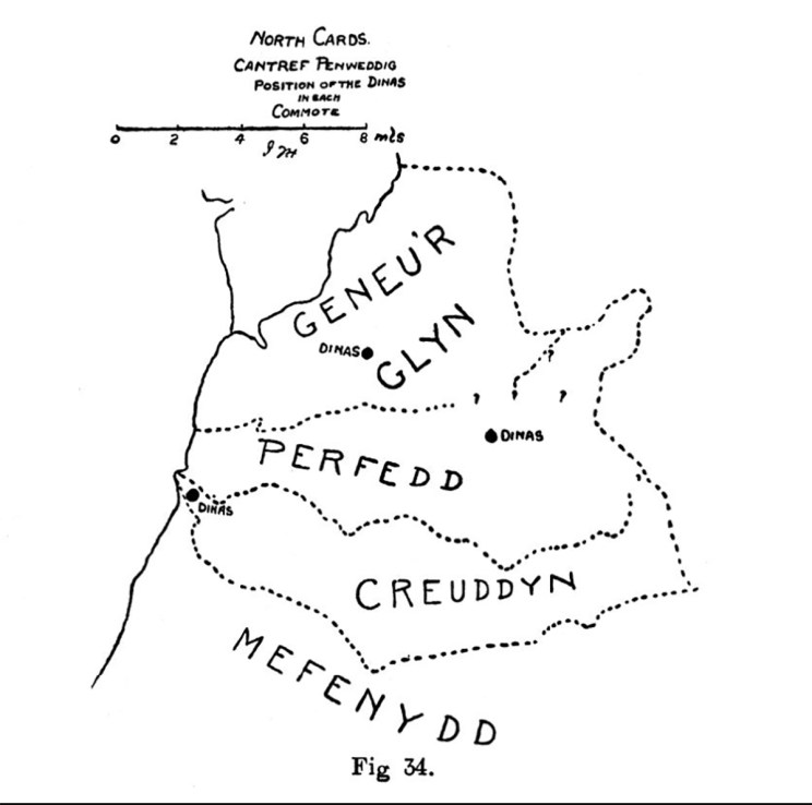 North Cardiganshire Cantref Penweddig Position of the Dinas in each Commote