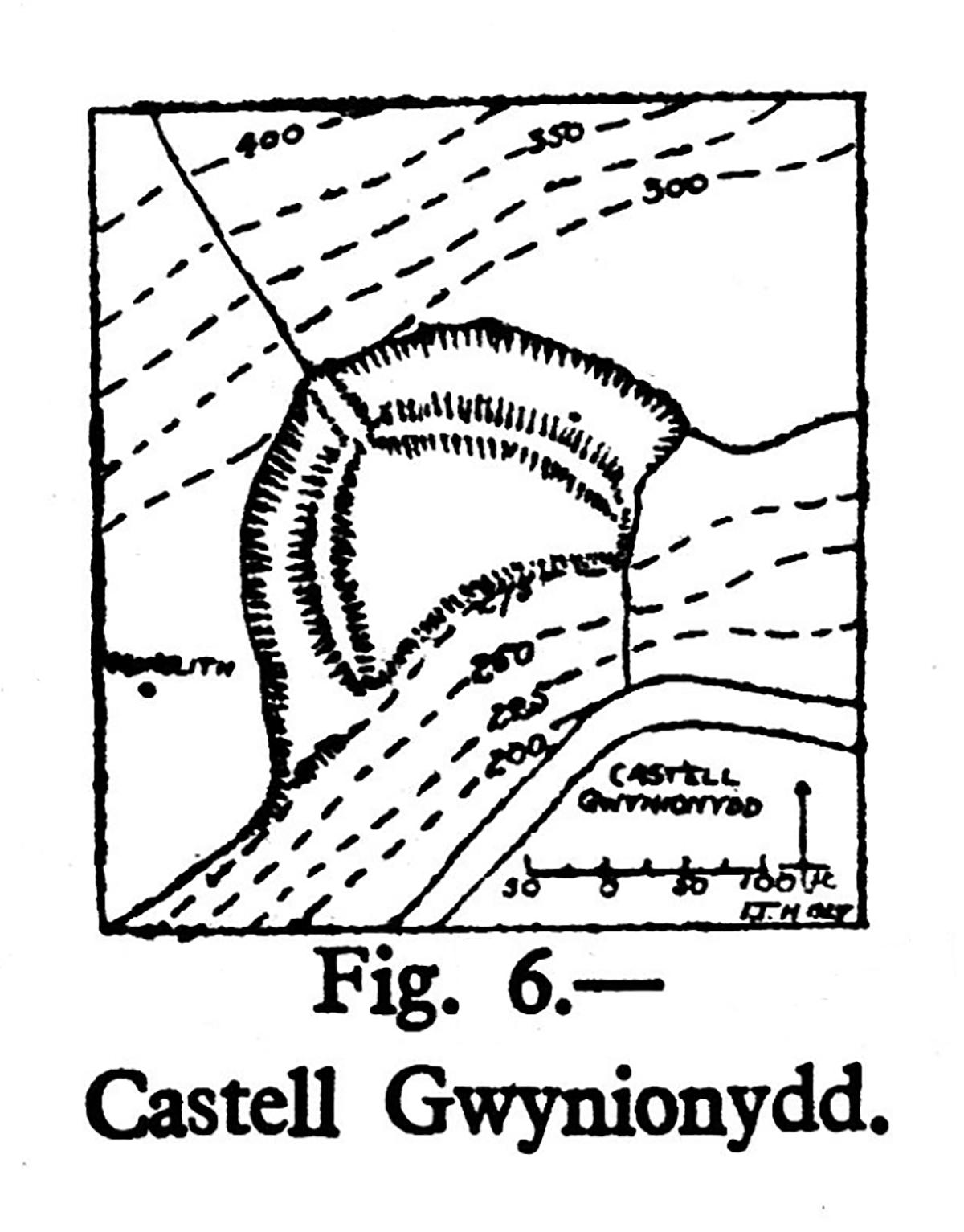 Site plan of Castell Gwynionydd