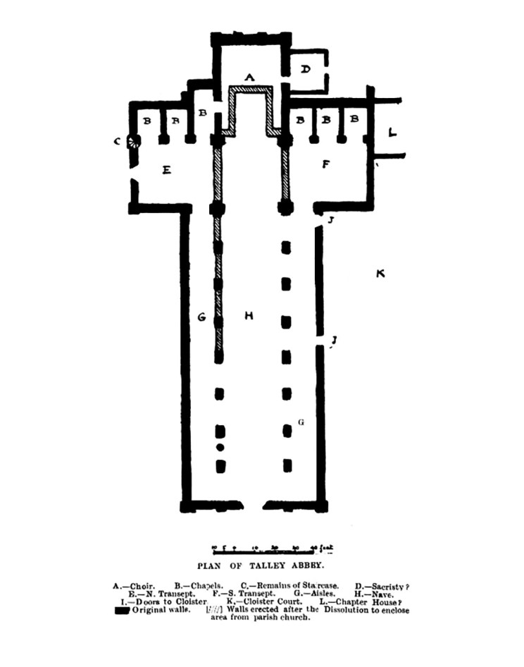 Site plan of Talley Abbey