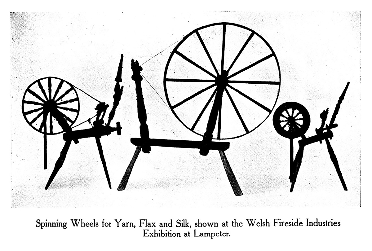 Spinning Wheels for Yarn, Flax and Silk shown at the Welsh Fireside Industries Exhibition at Lampeter