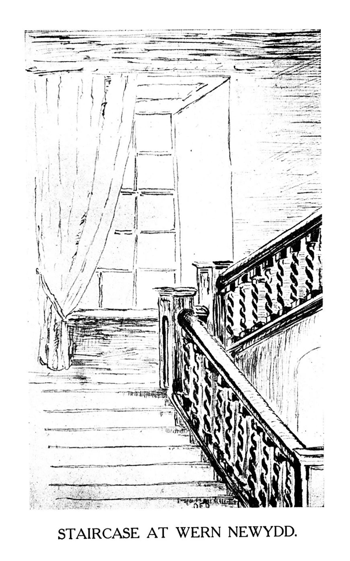Staircase at Wern Newydd, Llanarth, Ceredigion
