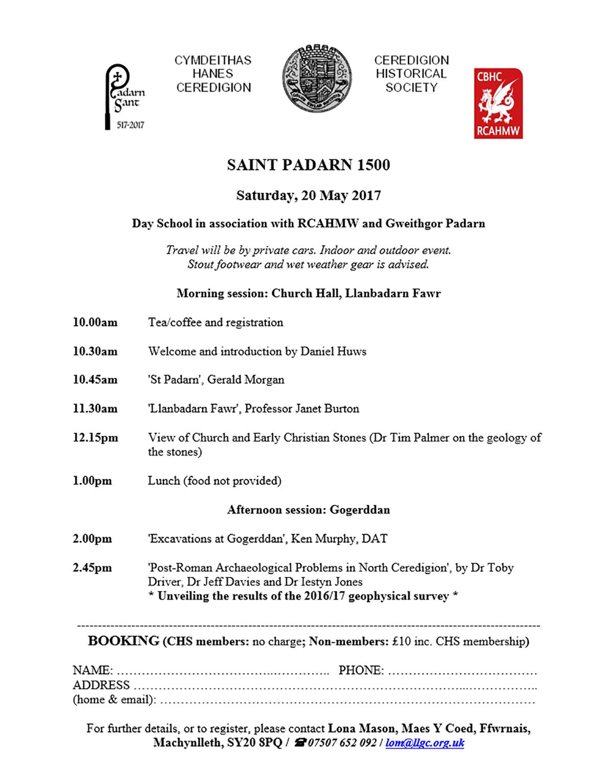 Saint Padarn 1500, Day School in association with RCAHMW and Gweithgor Padarn