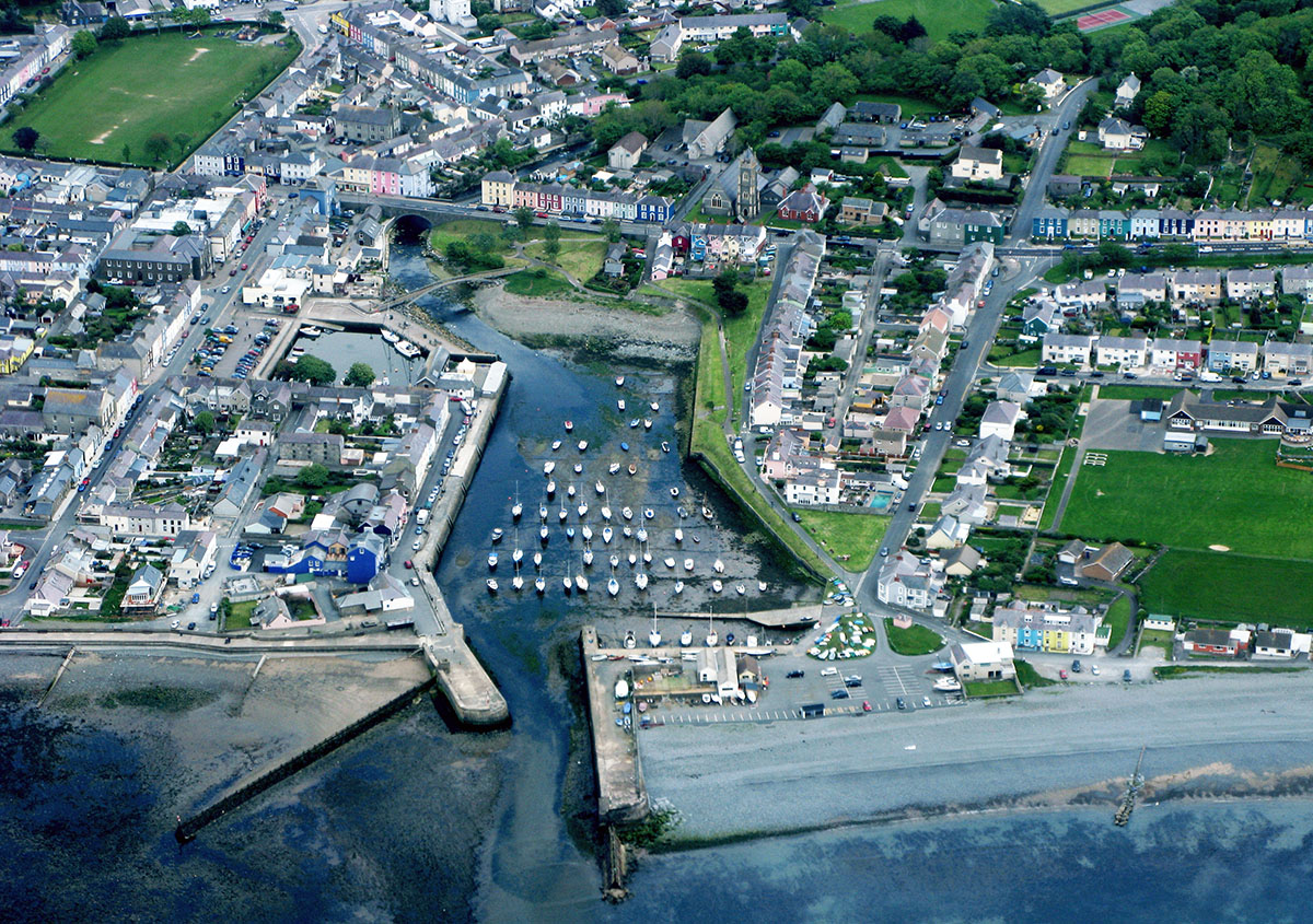 Aerial photo of Aberaeron Harbour - Discover the archaeology, antiquities and history of Ceredigion