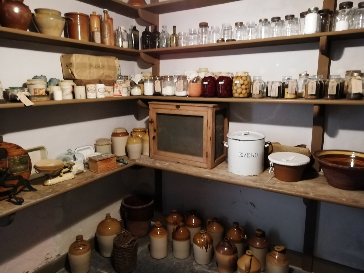 Pantry off the service kitchen at Llanerchaeron