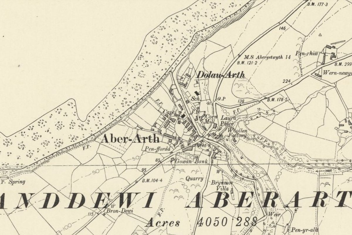 Aberarth Historic Mapping - OS Six Inch, 1888-1913, Reproduced with the permission of the National Library of Scotland