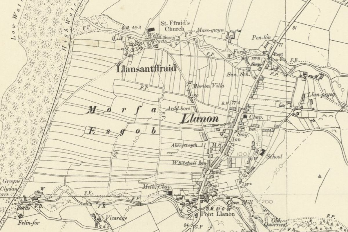 Llanon Historic Mapping - OS Six Inch, 1888-1913, Reproduced with the permission of the National Library of Scotland