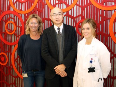 invasive cardiologist MD,Ph.D. Shigenori Ito from Nagoya City East Medical Center visiting Center for Exercise in medicine at St. Olavs Hospital, Trondheim University Hospital. At his left is Inger Lise Aamot, at his right Elisabeth Vesterbekkmo.