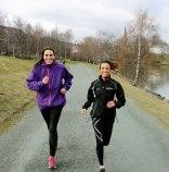 Two women running outdoor