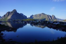 The sea and mountains in Lofoten