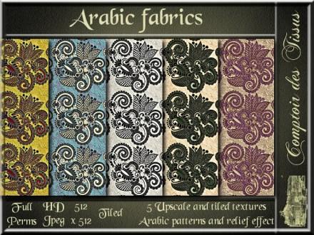 Arabic fabrics - 5 upscale and tiled fabrics textures SL ad