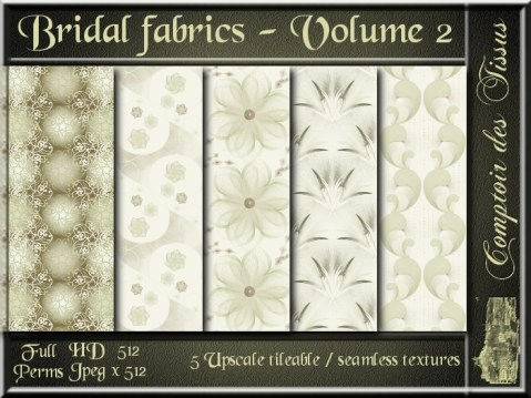 Bridal fabrics - Volume 2 - 5 FULL PERMS Textures