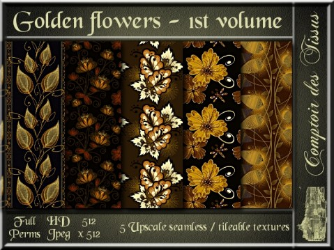 Golden flowers - 1st volume - 5 FULL PERMS Textures