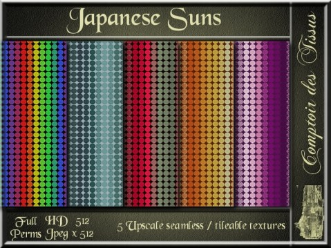 Japanese Suns - 5 FULL PERMS Textures