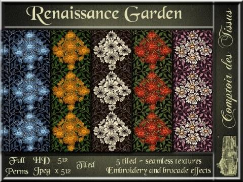 Renaissance Garden - 5 FULL PERMS Textures