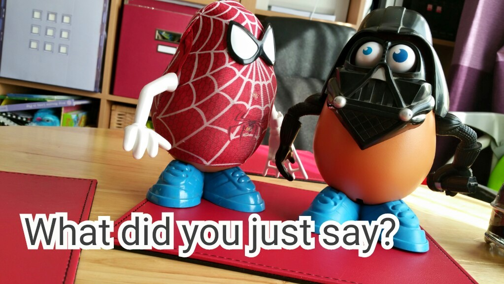 Spiderman faces off with Darth Vader