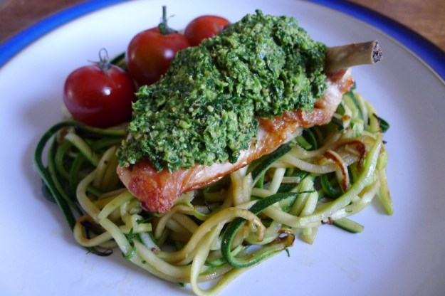 Kale & Almond Pesto on a Chicken Breast, with courgette spaghetti and cherry tomatoes
