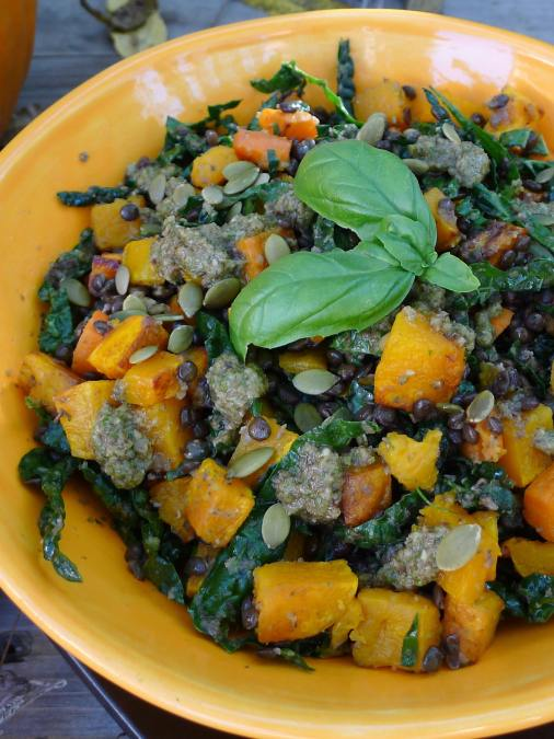 Beluga Lentil, Kale and Orange Veg Salad with Olive Tapenade Dressing