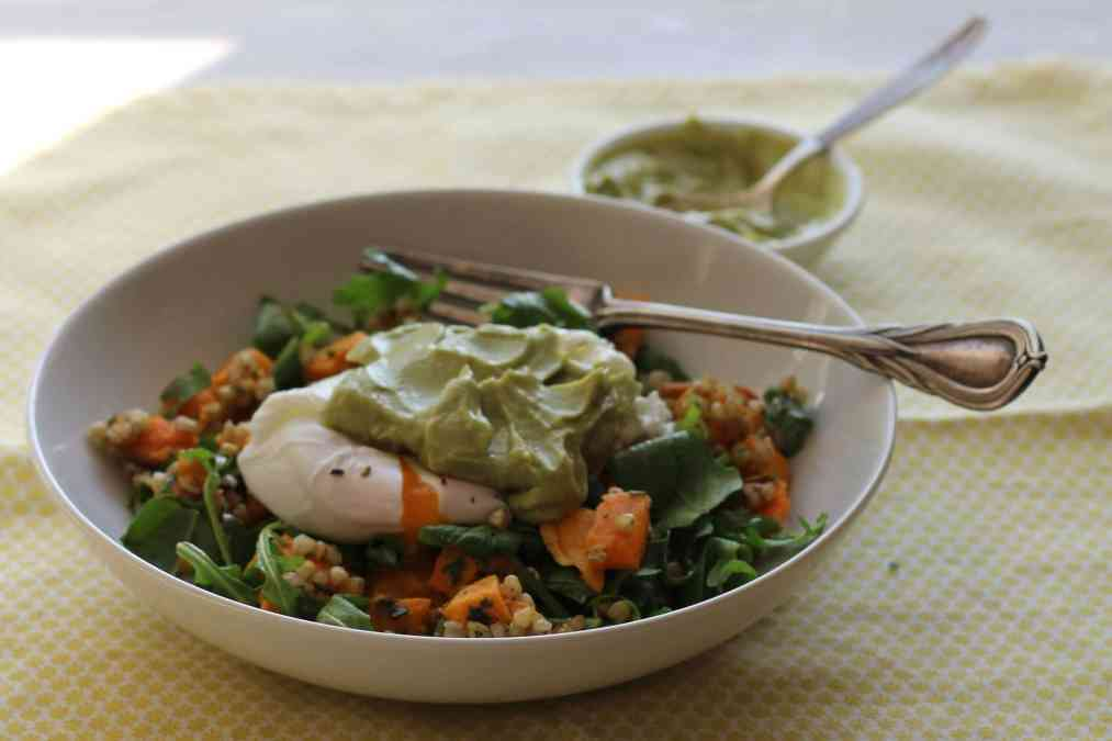 Sweet Potato & Buckwheat Brunch Bowl with Avocado Cream