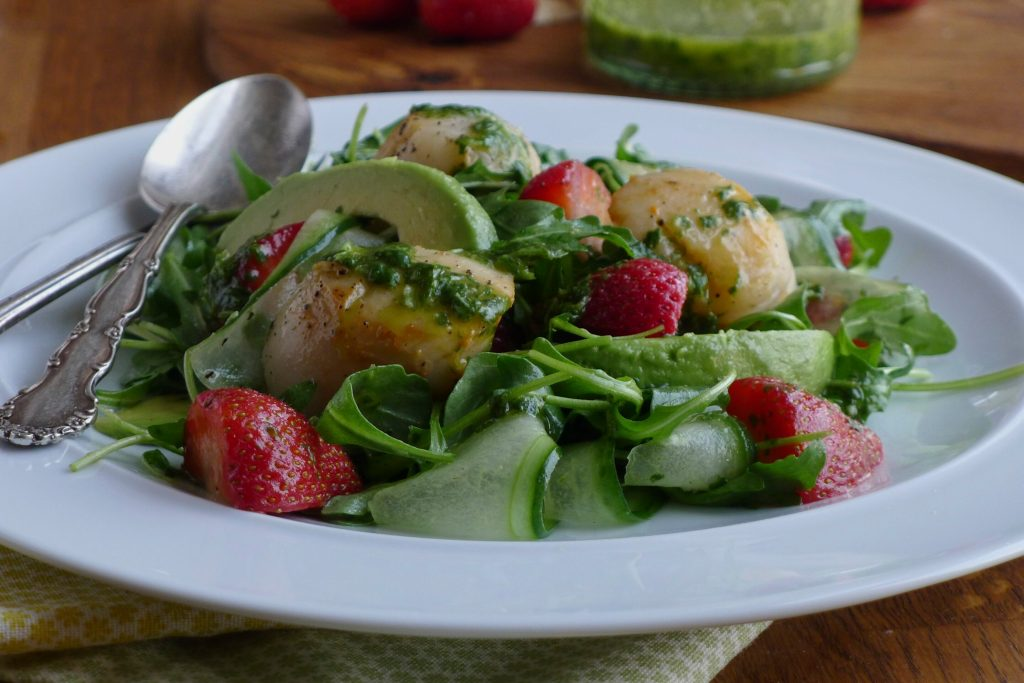 Strawberry Scallop Salad with a Basil-Lime Dressing