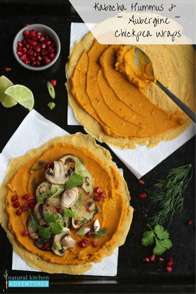 Kabocha Hummus in Chickpea Wraps | Natural Kitchen Adventures. Vegan and Gluten Free