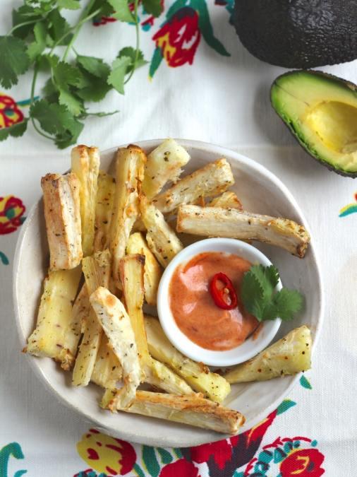 Baked Cassava Root Fries with Smokey Tomato Dip