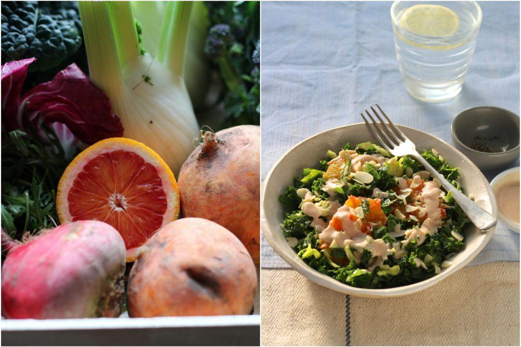 Blood Orange, part of a farmers market haul | Kale Salad
