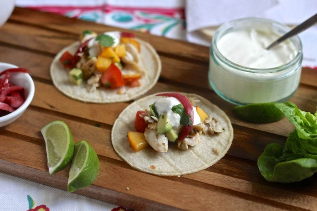 ish Tacos with Peach Salsa | Natural Kitchen Adventures | Healthy, Gluten Free, Fish, Quick weeknight supper