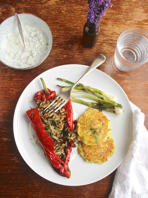 Mediterranean Stuffed Romano Peppers, Courgette Fritters & Charred Spring Onions