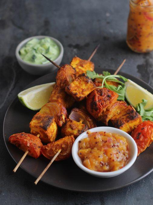 Paneer Tikka Kebabs with Nectarine Chutney and Rocket Raita