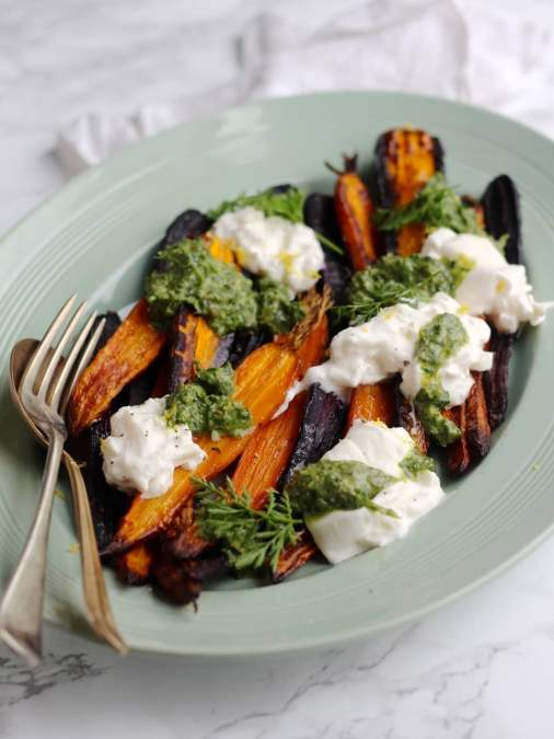 Roasted Rainbow Carrots with Burrata and Carrot Top Salsa Verde