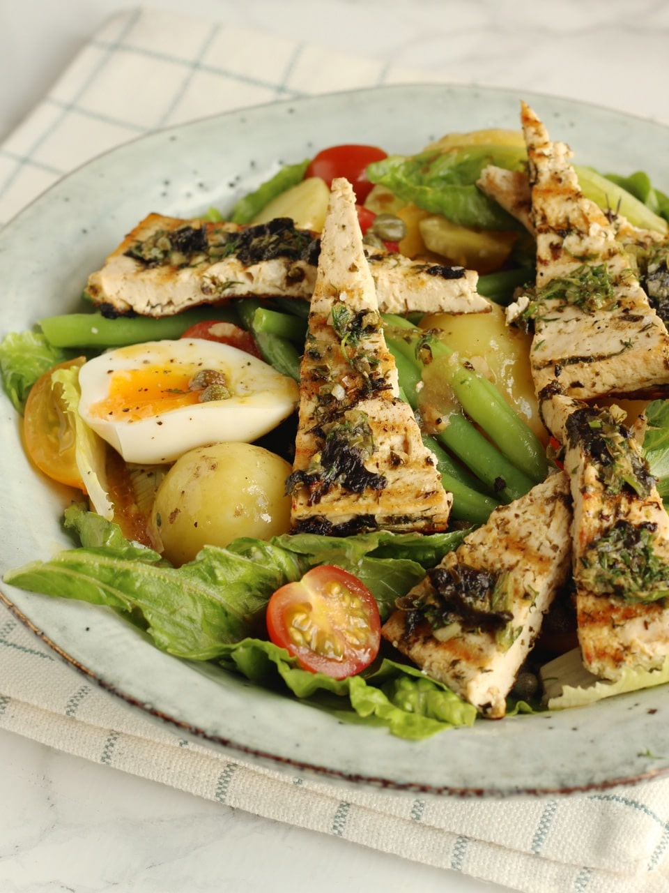 Tofu Nicoise Salad, a vegetarian or vegan take on this French Salad | Natural Kitchen Adventures