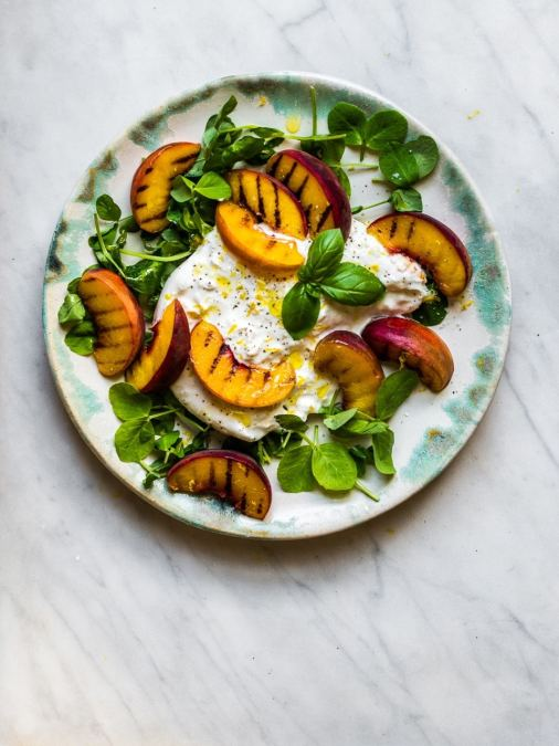 Peach with Burrata & Pea Shoots
